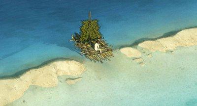 Sur le radeau. La tortue rouge par Michael Dudok de Wit.