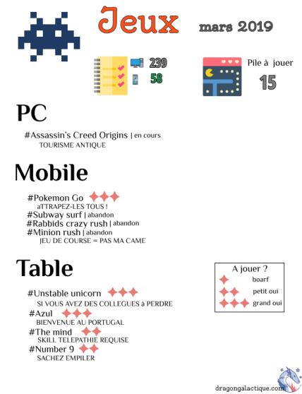 infographie jeux mars 2019 dragon galactique