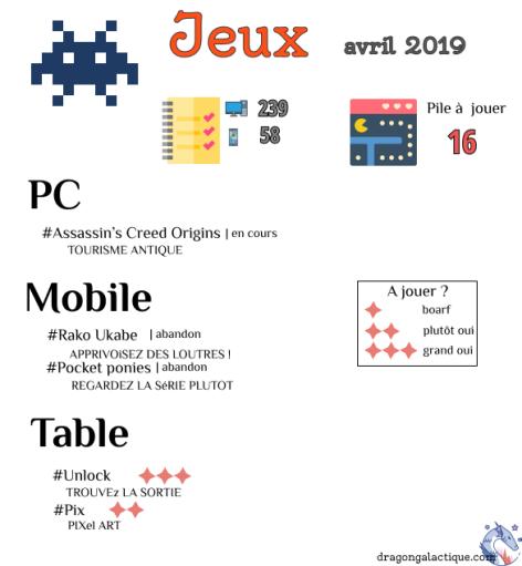 infographie jeux avril 2019 dragon galactique